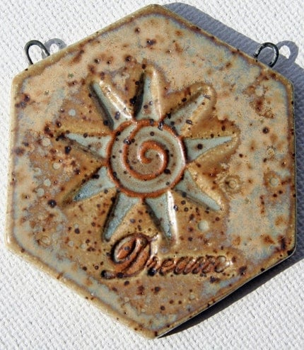 DREAM - HANDMADE STONEWARE HEXAGON SHAPED PENDANT