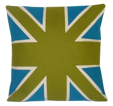 GREEN AND TURQUOISE UNION JACK FLAG CUSHION/PILLOW