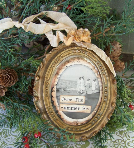 Over the Summer Sea Altered Vintage Mirror Whimsical Nostalgic Ornament OOAK