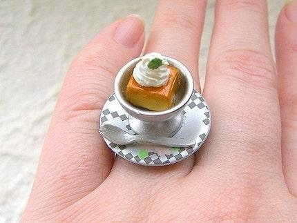 Kawaii Cute Japanese Ring - Custard Pudding With Whip Cream