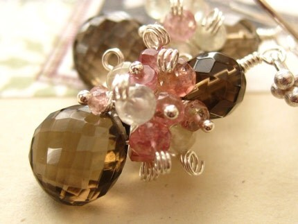 Spumoni Earrings-Smoky Quartz, Prehnite, Pink Tourmaline, Sterling Silver
