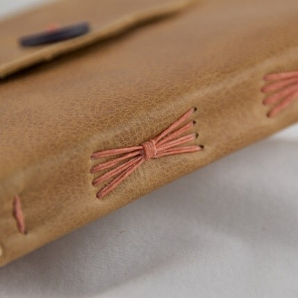 Softcover Golden Brown Leather Sketchbook or Journal with Salmon Thread and Vintage Button - Edition 119