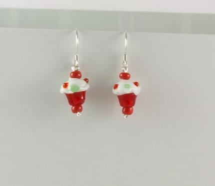 Cupcake Christmas earrings