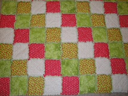 Strawberries and Cream Snuggle Rag Quilt Baby Toddler Blanket
