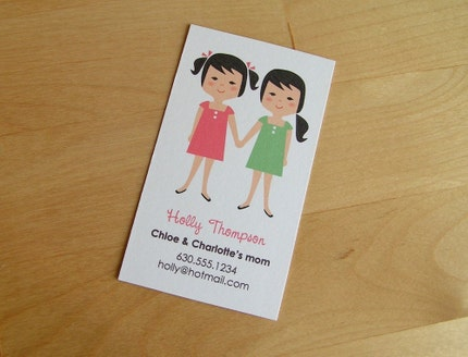 Custom Printable Calling Card - 2 children