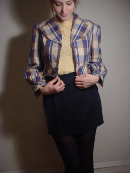 70s Vintage plaid crop blazer.