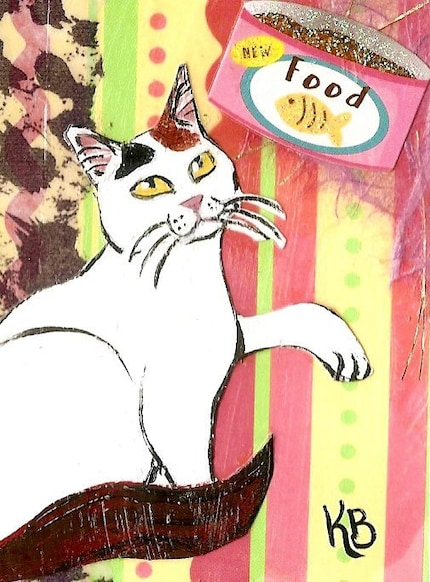 Cat Art ACEO Mixed Media Kitty Collage Card titled Hungry Kitty