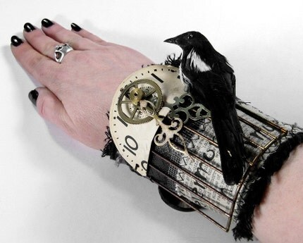 Steampunk Cuff - HARDCORE GOTHIC Wrist Cuff - Black LEATHER Textile Art - 3D RAVEN MAGPIE CAGED - BOLD Dial Ornate Hands TEXT Transfers Focals - MAKES A STRONG STATEMENT...One of a Kind Adjustable KNOCKOUT - NEW WEARABLE ART Exclusively by edmdesigns