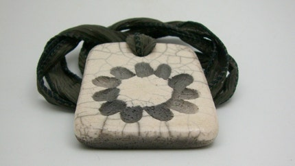 Black Petals Raku Pendant or Focal Bead...Raku Jewelry by MAKUstudio