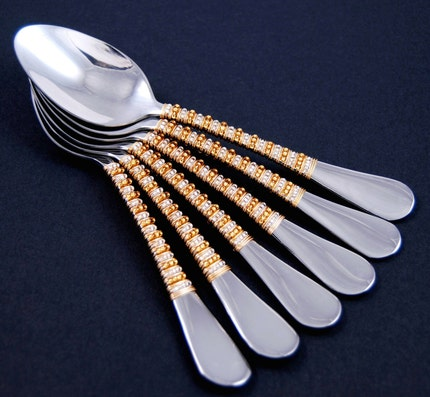 Teaspoons Beaded In Silver And Gold (Set Of 6) - Made The FRONT PAGE OF ETSY