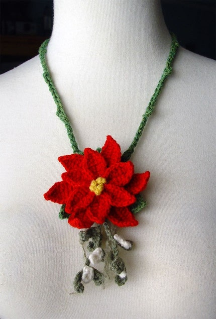 Crochet Cashmere Poinsettia and Mistletoe necklace