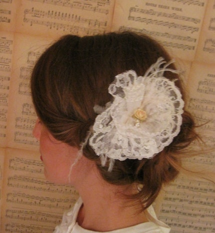 HARPER, READY TO SHIP, fascinator, flower, bridal, hair piece, head piece, lace