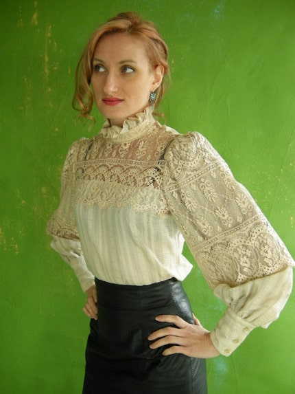 LACE Victorian Style Vintage 70s Blouse S M by empressjade on Etsy from etsy.com