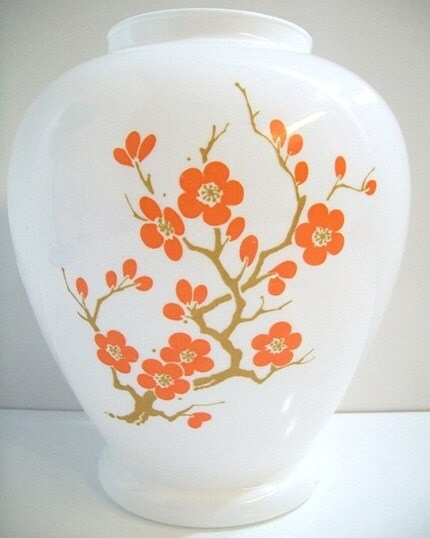 Vintage Italian White Glass Orange Dogwood Vase Asian Inspired