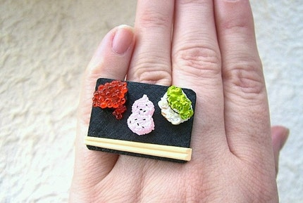 Kawaii Cute Japanese Ring Sushi And Chopsticks