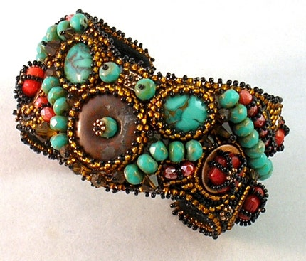Copper Coral and Turquoise Bead Embroidered Cuff Bracelet
