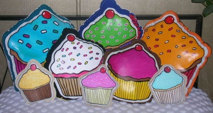 LARGE Custom Cupcake Pillow