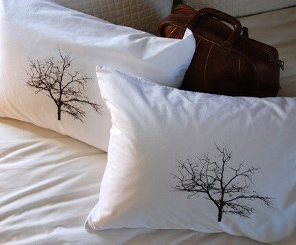 Tree Silhouette Pillowcase Pair Standard by branchhandmade on Etsy from etsy.com