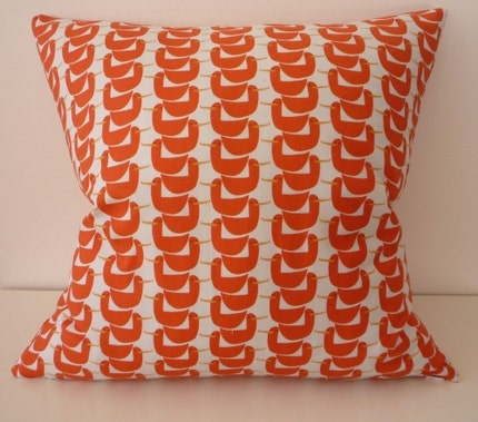 Orange Ducks in a Row Pillow / Cushion Cover