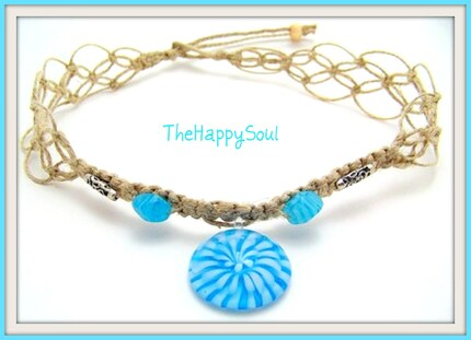 Baby Blue Starburst Lampwork Pendant - Natural Hemp Choker / Necklace