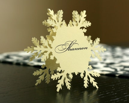 Snowflake Place Cards (folded style) - set of 8