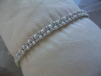 Rhinestone and Pearl encrusted Headband Hampton Court Bride