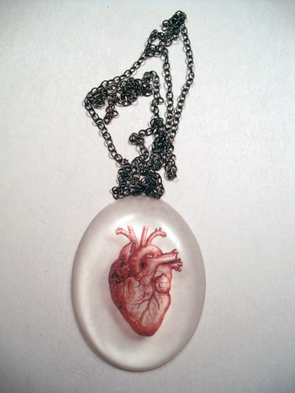 Clear oval pendant with red anatomical heart.