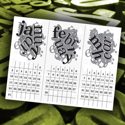 The Crazy Type Calendar 2010  MONOCHROME by theRasilisk on Etsy from etsy.com