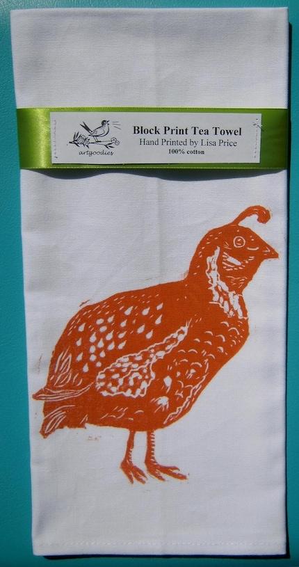 block print quail towel hand printed