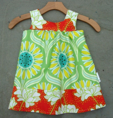 Pop Garden Daisy and Peonies Prairie Dress with Adjustable Organic Straps