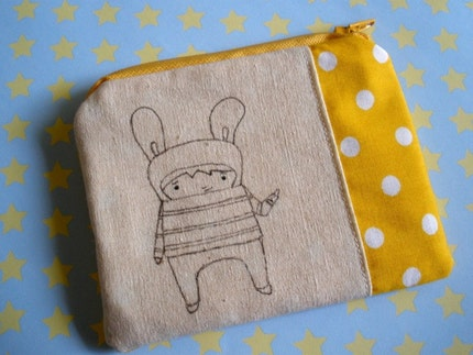 Hello Bunny Coinpurse - Hand Illustrated