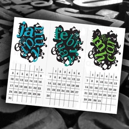 The Crazy Type Calendar 2010  Color by theRasilisk on Etsy from etsy.com