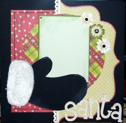 SANTA Premade 12x12 Scrapbook Page Layout Just Add Pictures