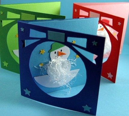 3 Holiday Snowman Christmas Cards