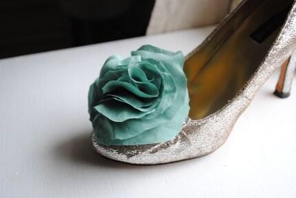 B. Poetic Silk Shoe Clips in Dark Mint Green