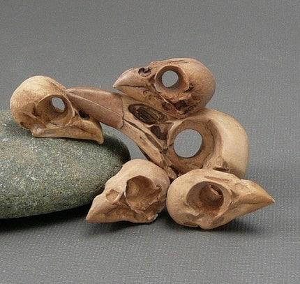 Polymer Clay Bird Skulls--two styles