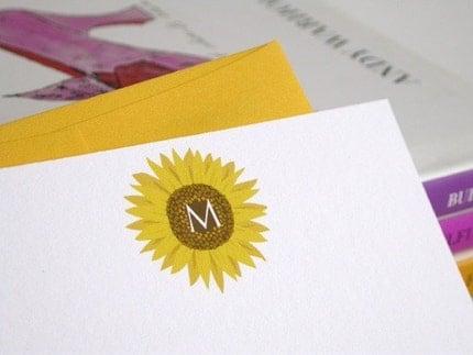 Sunflower Notecard Set of 12 - Custom Initial