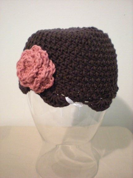 Chocolate Flower Beanie Adult Size