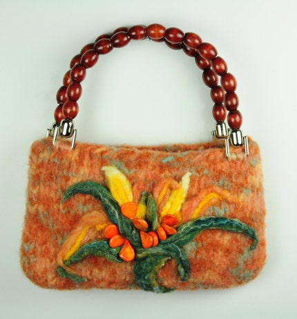 Chrysanthemum Felted Handbag
