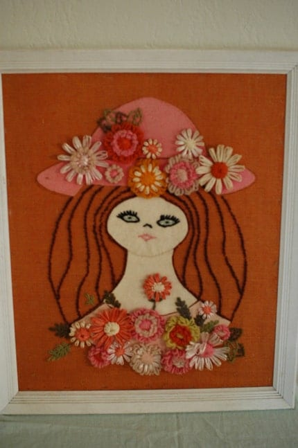 Huge Yarn Art Mod Hippy Girl Portrait