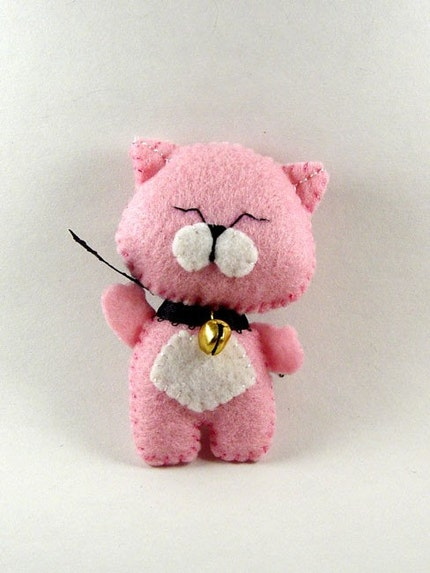 Happy Lucky Cat Mascot Ornament - Pink and White - hand stitched felt OOAK