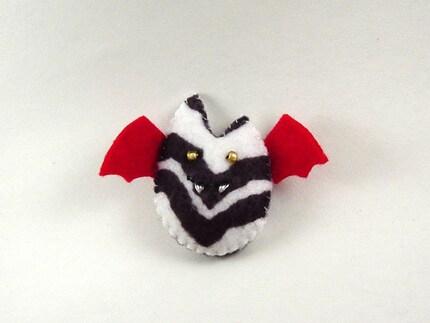 Batling Ornament - Black White Zebra and Red