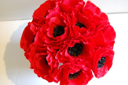 Red anemone floral arrangement centerpiece
