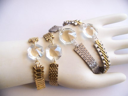 crystal clear - a bracelet of vintage and recycled jewelry