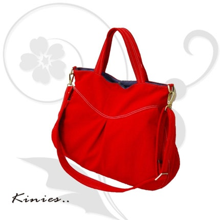 Everyday Purse in Red with an Adjustable removeable Strap by Kinies