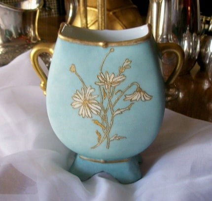 ANTIQUE M R FRANCE LIMOGE BLUE GOLD VASE