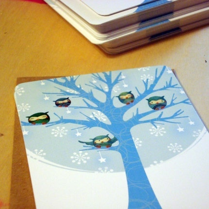 Chilly Owls Holiday Card Set of 10 Cards, Envelopes and Stickers