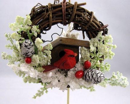 rustic birdhouse ornament