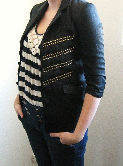 Vintage Slim Fit Military Hand Studded Skinny 5 Button Boyfriend Blazer Coat Jacket Black and Gold
