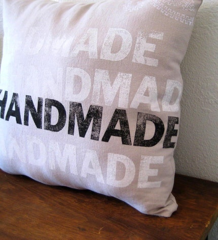 My Handmade Pillow - Large Black White and Tan hand printed Hemp and Cotton Pillow